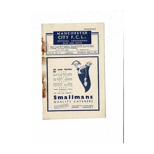 1948/49 Manchester City v Sheffield United Football Programme