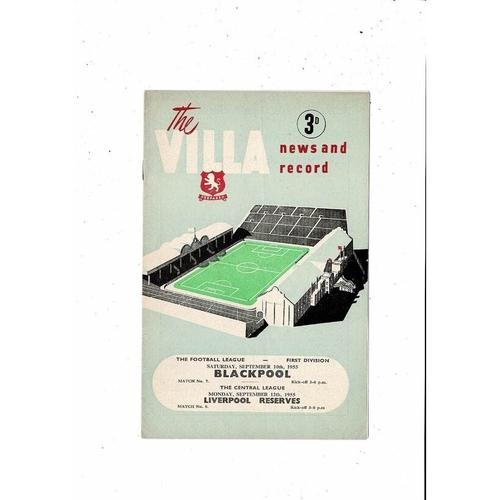 1955/56 Aston Villa v Blackpool Football Programme + Liverpool Reserves