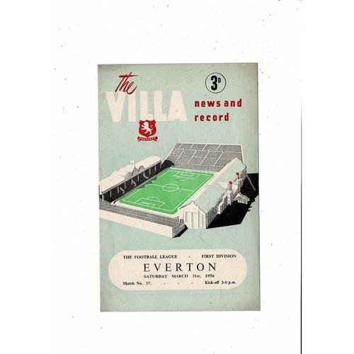 1955/56 Aston Villa v Everton Football Programme