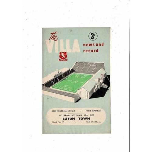 1955/56 Aston Villa v Luton Town Football Programme