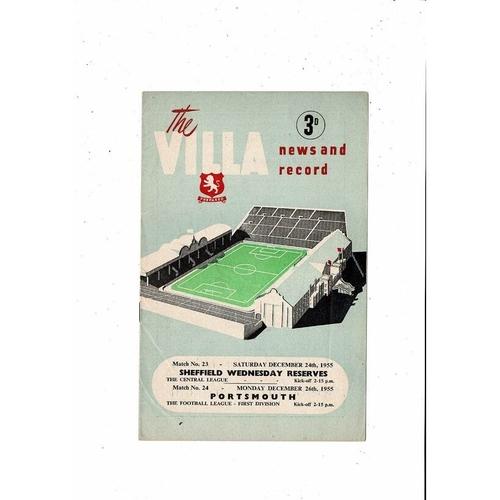 1955/56 Aston Villa v Portsmouth Football Programme + Sheffield Wednesday Reserves