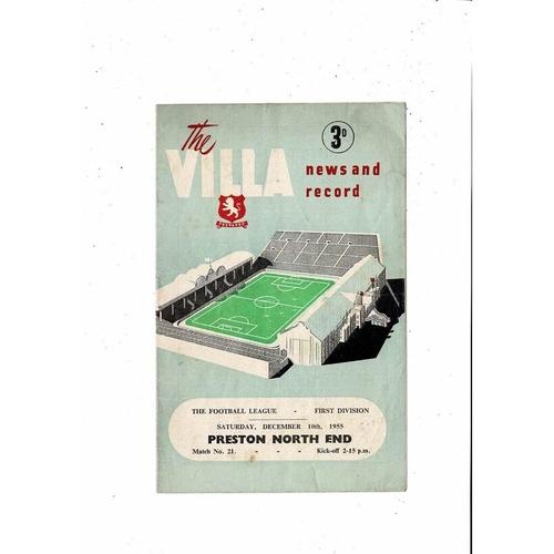 1955/56 Aston Villa v Preston Football Programme