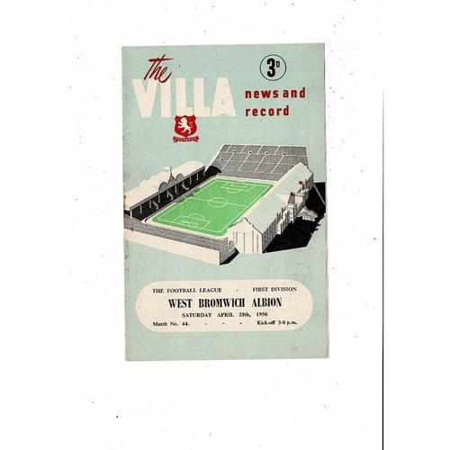 1955/56 Aston Villa v West Bromwich Albion Football Programme