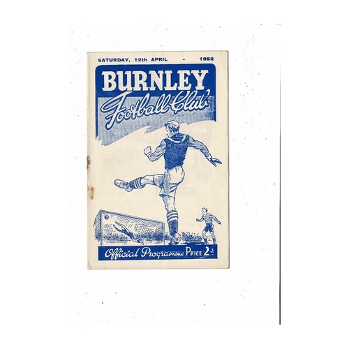 1951/52 Burnley v Huddersfield Town Football Programme