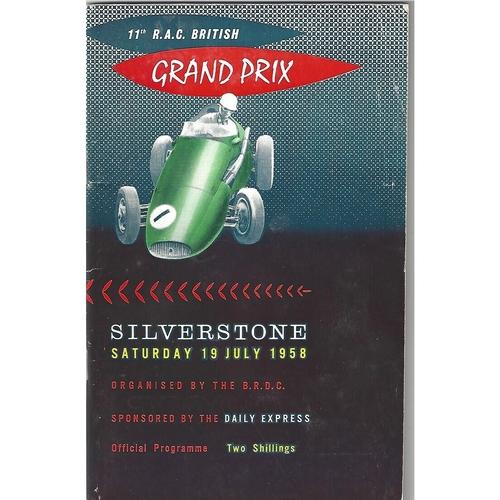 1958 British Grand Prix Programme