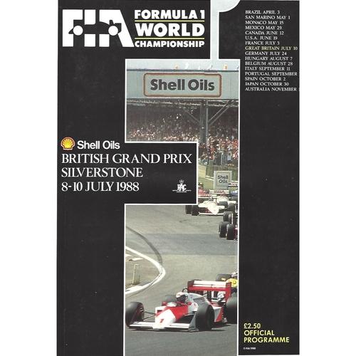 1988 British Grand Prix Programme & Racecard