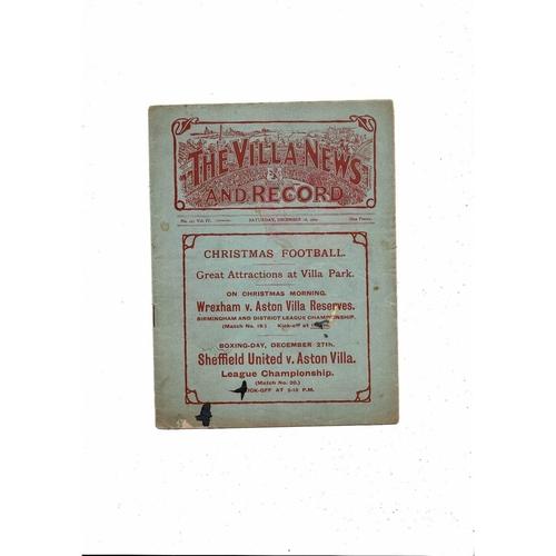 1909/10 Aston Villa v Liverpool Ex bound Volume Football Programme