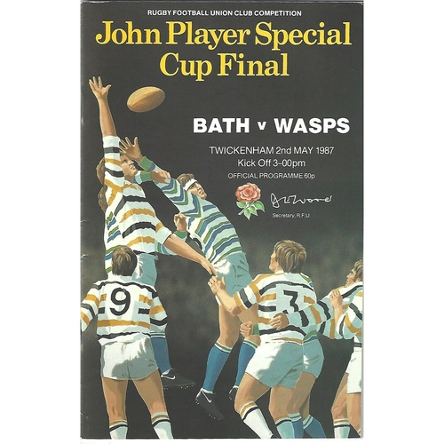 1987 Bath v Wasps John Player Cup Final Rugby Union Programme