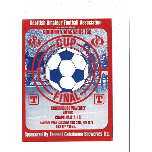 1979 Crosshouse Waverley v Chapelhall Scottish Amateur Cup Final Football Programme