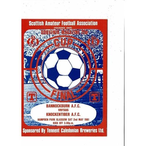 1981 Bannockburn v Knockentiber Scottish Amateur Cup Final Football Programme