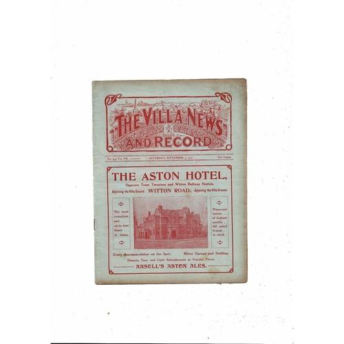 1912/13 Aston Villa v Bradford City Football Programme