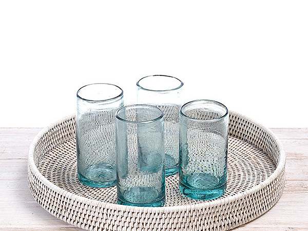 Recycled and Hand Blown Tumbler Glass, Drinking Water Glass