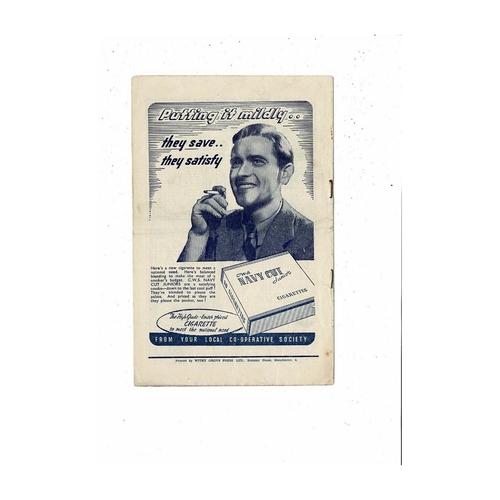 1947/48 Manchester City v Preston Football Programme