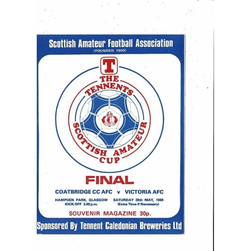 1988 Coatbridge v Victoria Scottish Amateur Cup Final Football Programme