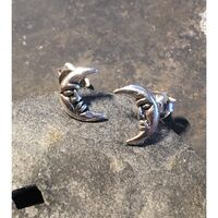 Sterling Silver Moon Studs