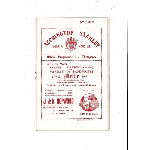 1954/55 Accrington Stanley v Chesterfield Football Programme. Rearranged Game