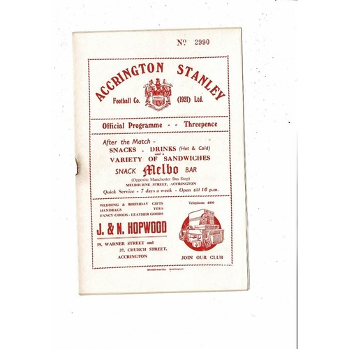1954/55 Accrington Stanley v Southport Football Programme.