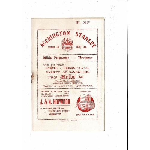 1954/55 Accrington Stanley v Workington Football Programme.