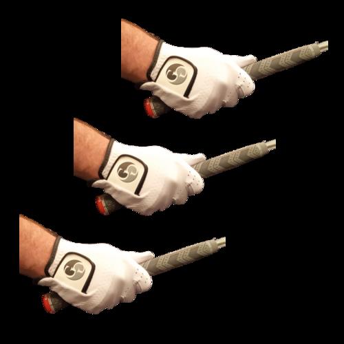Pack of 3 - Men's Full Soft Cabretta Leather Golf Gloves - Right Hand (For a Left handed golfer)