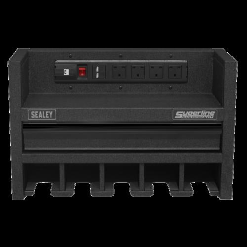 Power Tool Storage Rack 560mm with Drawer & Power Strip - Sealey - AP22SRBE