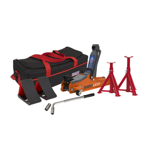 Trolley Jack 2tonne Low Entry Short Chassis - Orange and Accessories Bag Combo