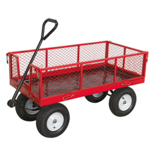 Platform Truck with Sides Pneumatic Tyres 450kg Capacity - Sealey - CST806