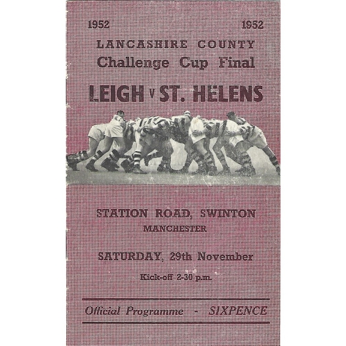 1952 Leigh v St. Helens Lancashire County Challenge Cup Final Rugby League Programme
