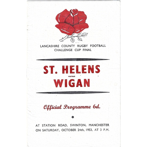 1953 St. Helens v Wigan Lancashire County Challenge Cup Final Rugby League Programme