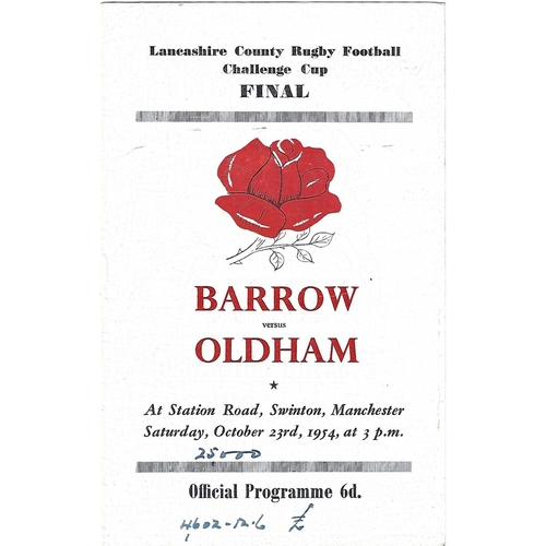 1954 Barrow v Oldham Lancashire County Challenge Cup Final Rugby League Programme