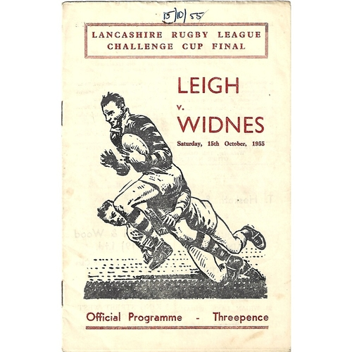 1955 Leigh v Widnes Lancashire County Challenge Cup Final Rugby League Programme
