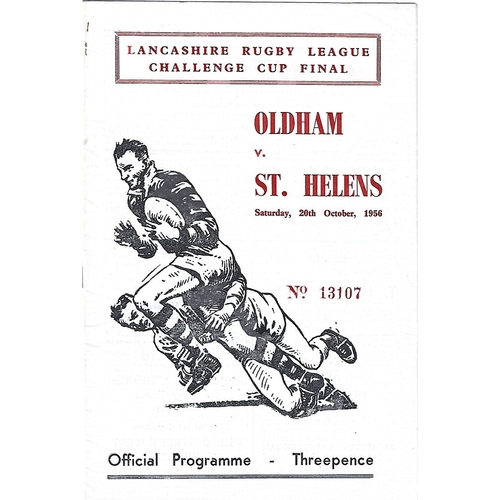 1956 Oldham v St. Helens Lancashire County Challenge Cup Final Rugby League Programme