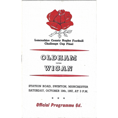 1957 Oldham v Wigan Lancashire County Challenge Cup Final Rugby League Programme