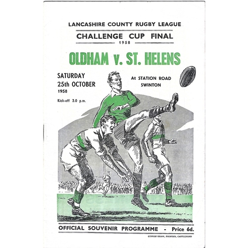 1958 Oldham v St. Helens Lancashire County Challenge Cup Final Rugby League Programme