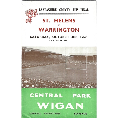 1959 St. Helens v Warrington Lancashire County Challenge Cup Final Rugby League Programme