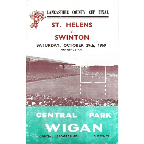 1960 St. Helens v Swinton Lancashire County Challenge Cup Final Rugby League Programme
