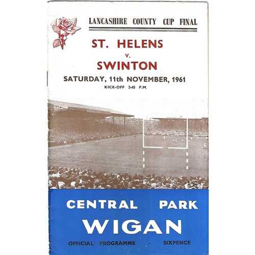 1961 St. Helens v Swinton Lancashire County Challenge Cup Final Rugby League Programme