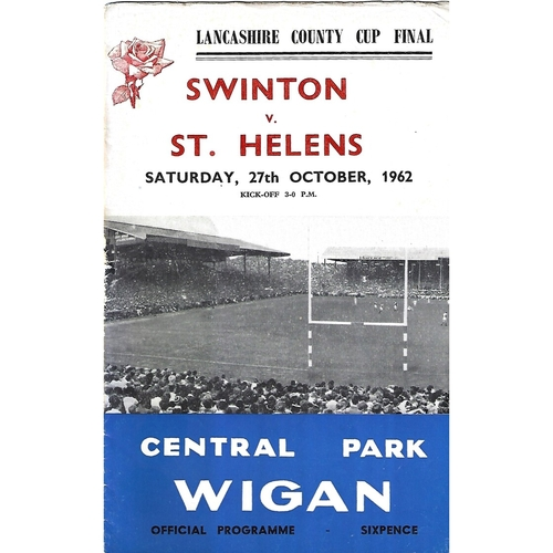 1962 Swinton v St. Helens Lancashire County Challenge Cup Final Rugby League Programme