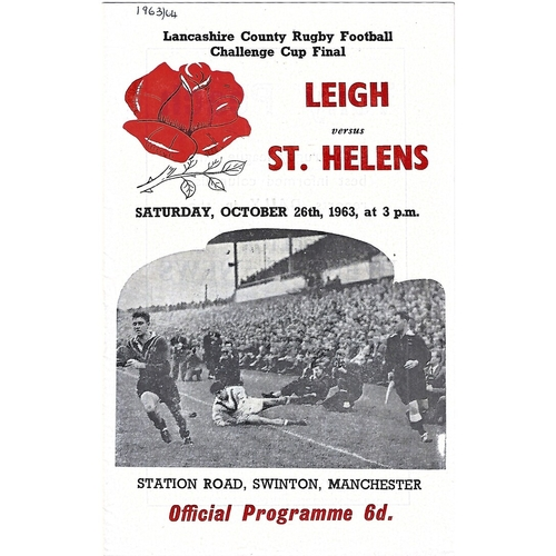 1963 Leigh v St. Helens Lancashire County Challenge Cup Final Rugby League Programme