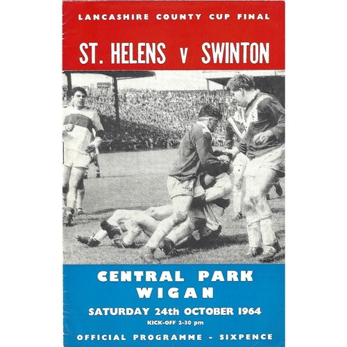 1964 St. Helens v Swinton Lancashire County Challenge Cup Final Rugby League Programme
