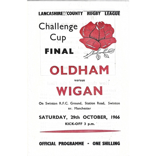1966 Oldham v Wigan Lancashire County Challenge Cup Final Rugby League Programme