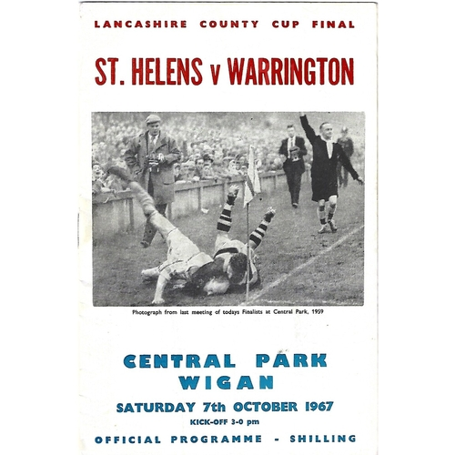 1967 St. Helens v Warrington Lancashire County Challenge Cup Final Rugby League Programme