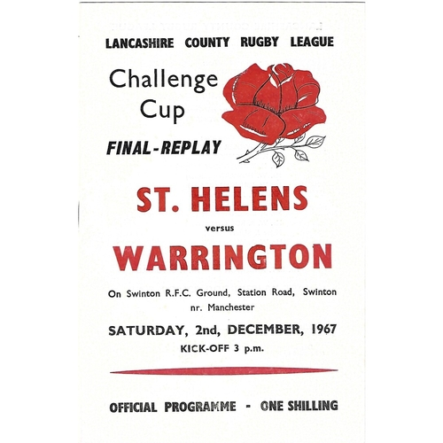 1967 St. Helens v Warrington Lancashire County Challenge Cup Final Replay Rugby League Programme