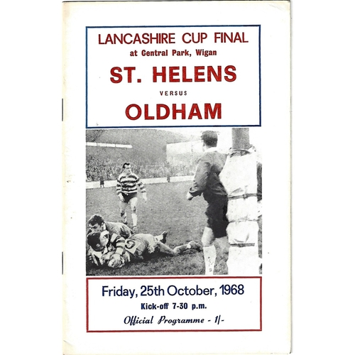 1968 St. Helens v Oldham Lancashire County Challenge Cup Final Rugby League Programme