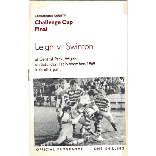 1969 Leigh v Swinton Lancashire County Challenge Cup Final Rugby League Programme