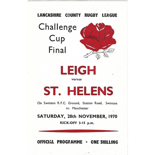 1970 Leigh v St. Helens Lancashire County Challenge Cup Final Rugby League Programme