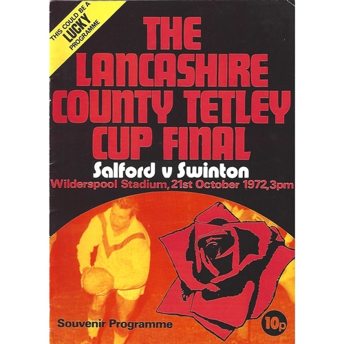 1972 Salford v Swinton Lancashire County Challenge Cup Final Rugby League Programme