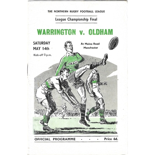 1955 Warrington v Oldham Northern Rugby League Championship Final Programme