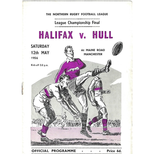 1956 Halifax v Hull Northern Rugby League Championship Final Programme