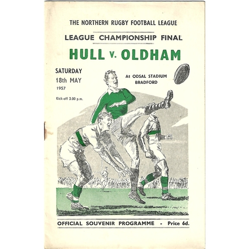 1957 Hull v Oldham Northern Rugby League Championship Final Programme