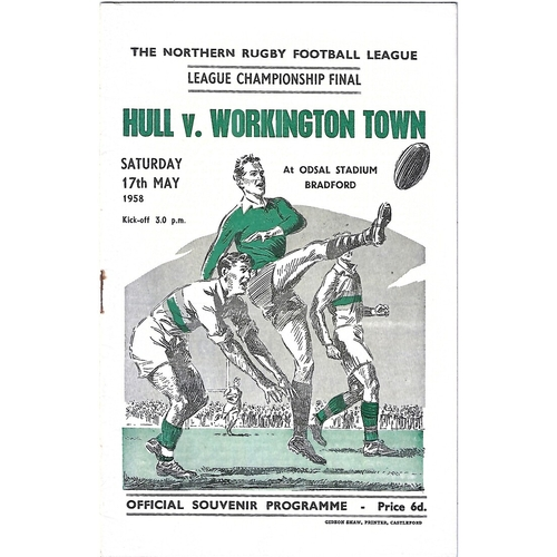 1958 Hull v Workington Town Northern Rugby League Championship Final Programme